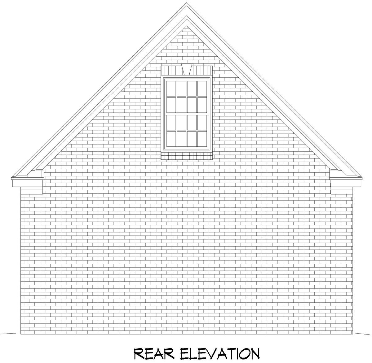 Bungalow, Craftsman, Traditional 2 Car Garage Apartment Plan 52114 Rear Elevation