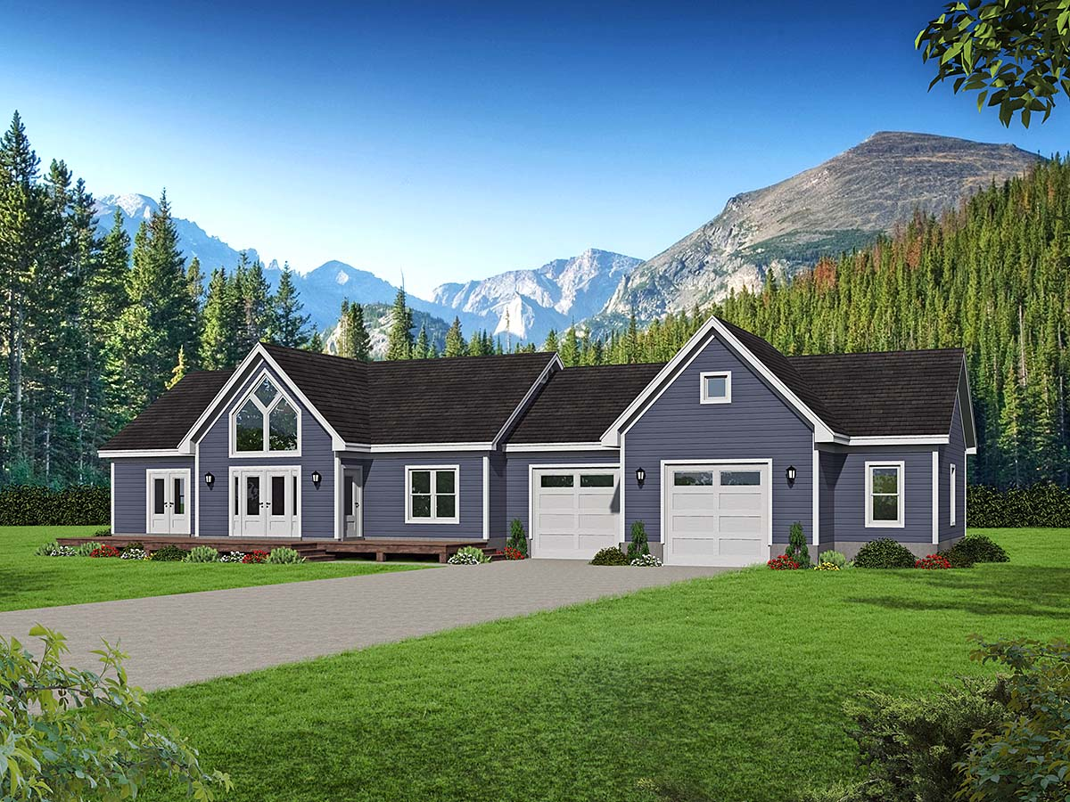Traditional House Plan 52115 with 2 Beds, 2 Baths, 2 Car Garage Elevation