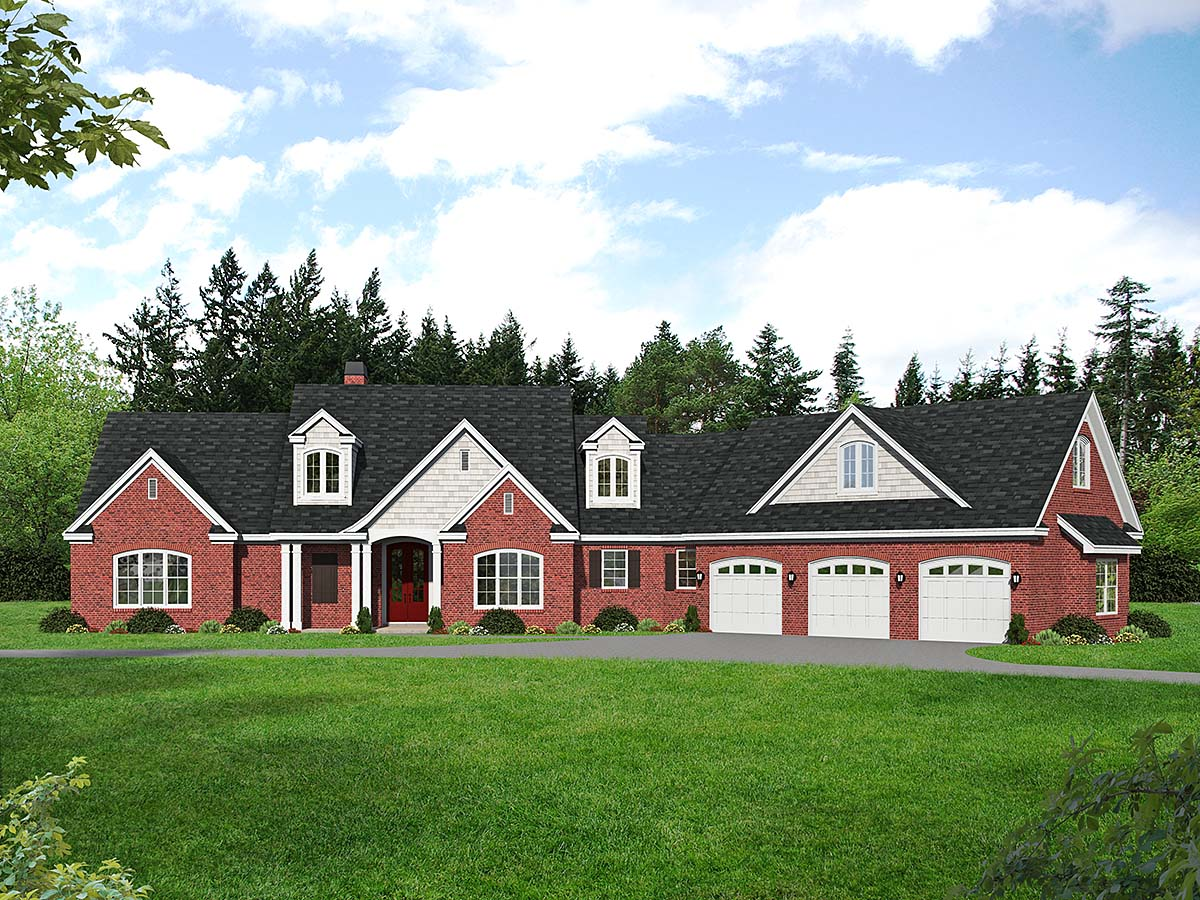 Country, Farmhouse, Traditional House Plan 52128 with 3 Beds, 3 Baths, 3 Car Garage Elevation