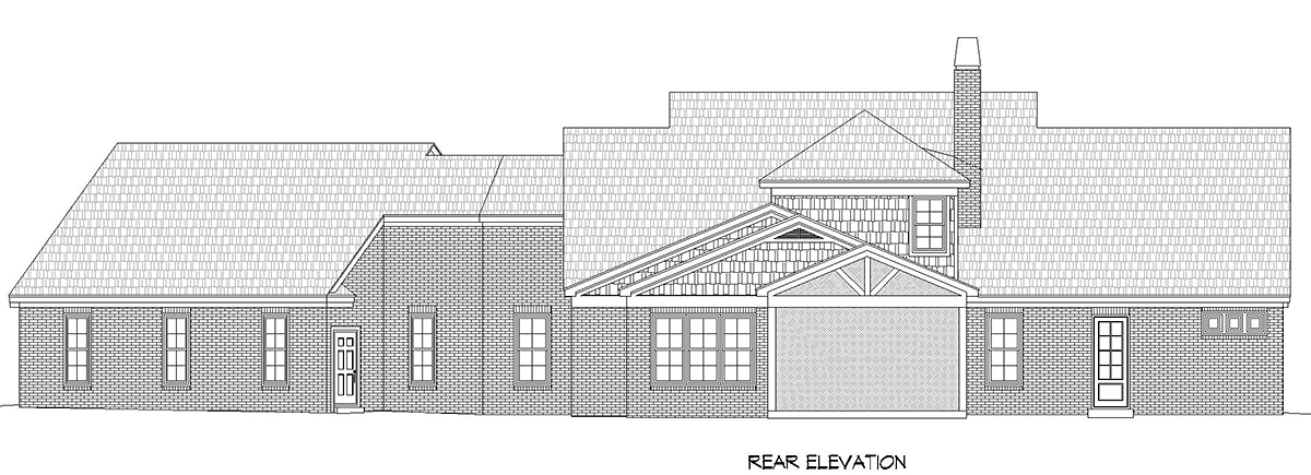 Country, Farmhouse, Traditional House Plan 52128 with 3 Beds, 3 Baths, 3 Car Garage Rear Elevation