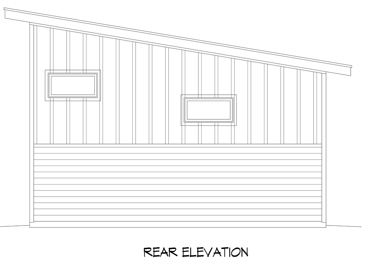 Contemporary, Modern 1 Car Garage Plan 52130 Rear Elevation