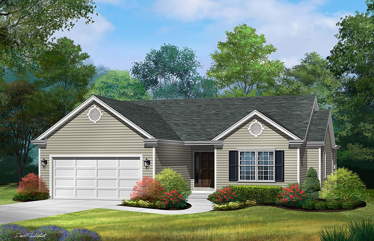 Ranch, Traditional House Plan 52200 with 3 Beds, 2 Baths, 2 Car Garage Elevation