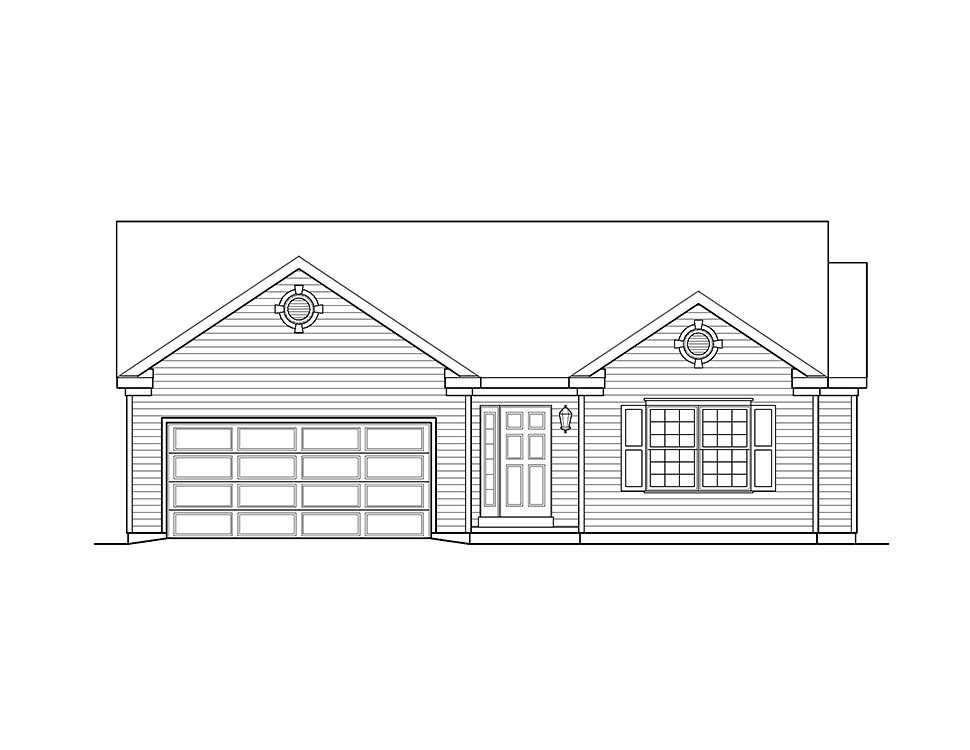 Ranch, Traditional House Plan 52200 with 3 Beds, 2 Baths, 2 Car Garage Picture 3