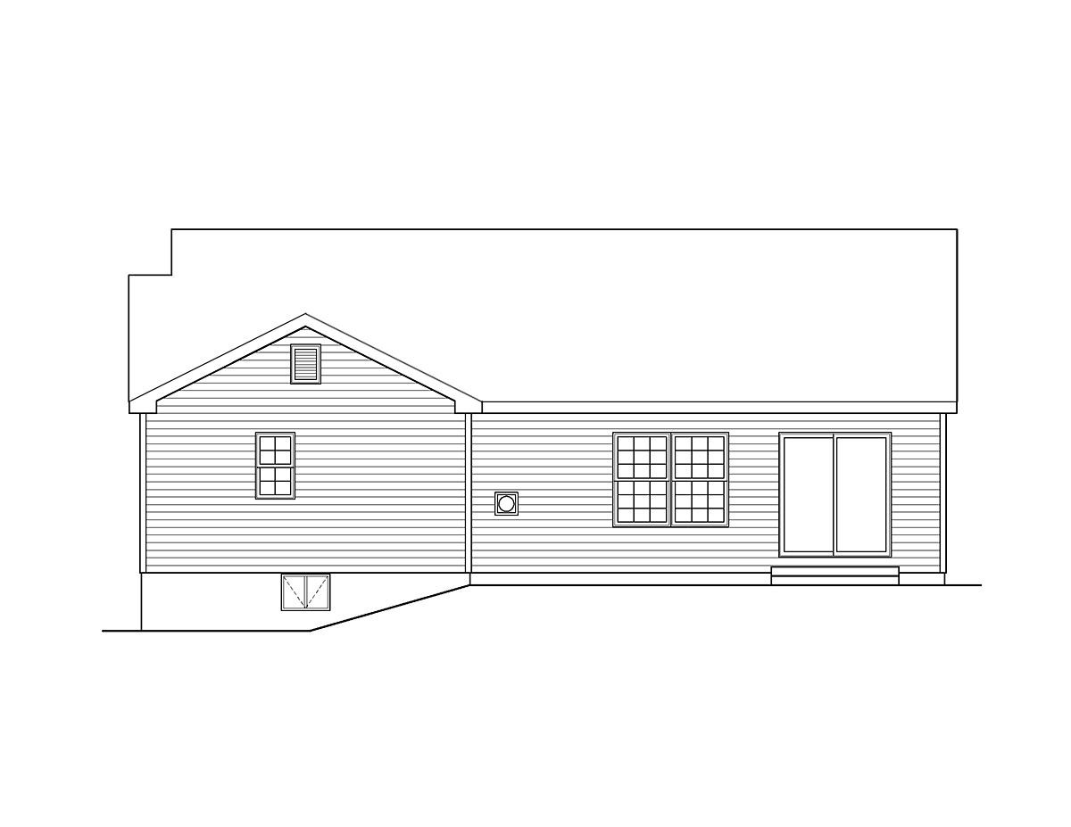 Ranch, Traditional House Plan 52200 with 3 Beds, 2 Baths, 2 Car Garage Rear Elevation