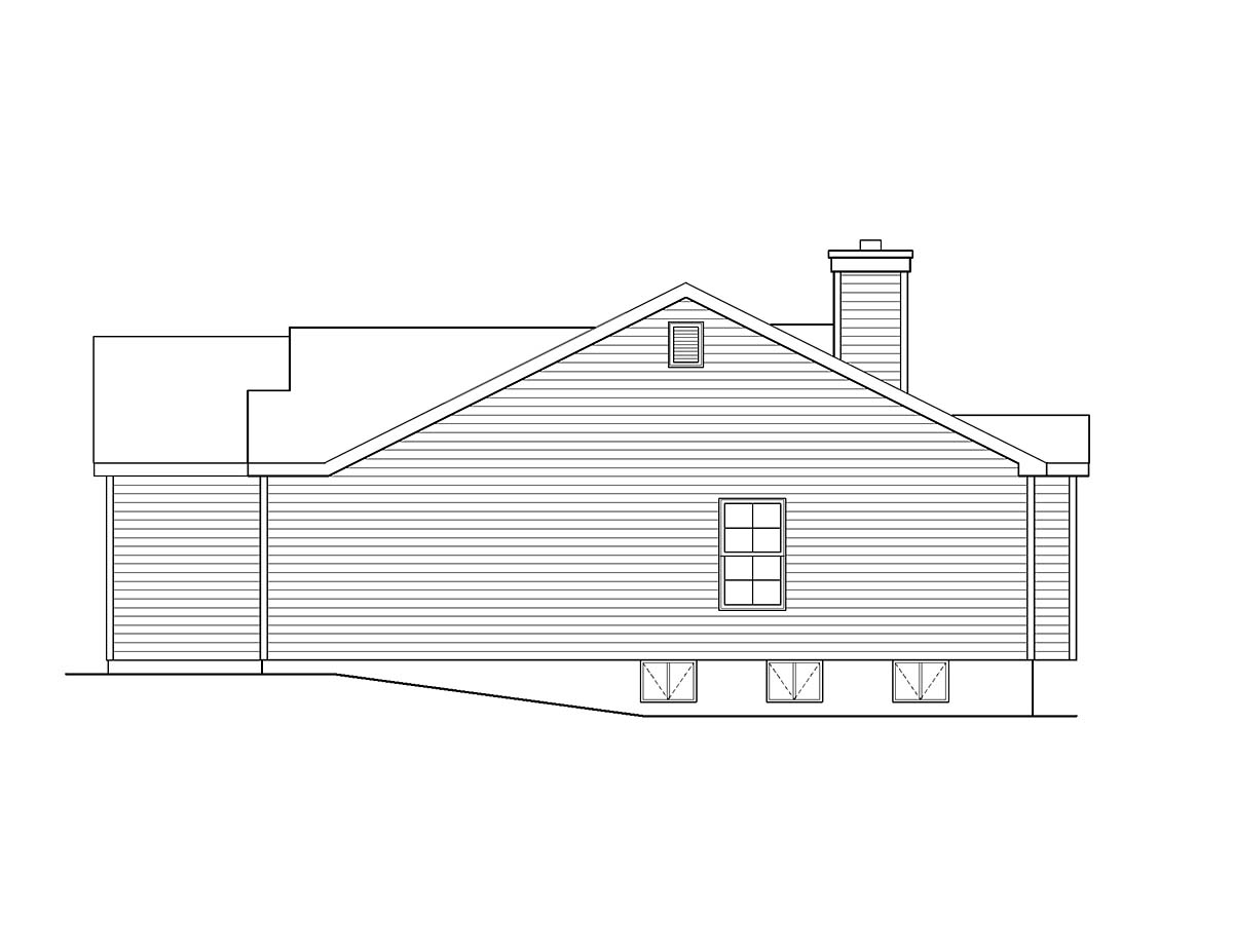Ranch, Traditional House Plan 52202 with 3 Beds, 2 Baths, 2 Car Garage Picture 1