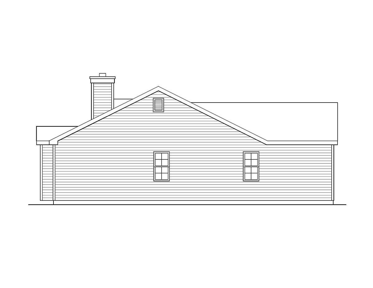 Ranch, Traditional House Plan 52202 with 3 Beds, 2 Baths, 2 Car Garage Picture 2