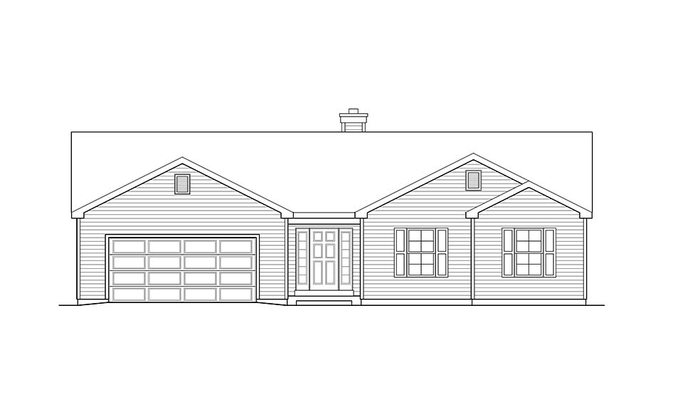 Ranch, Traditional House Plan 52202 with 3 Beds, 2 Baths, 2 Car Garage Picture 3