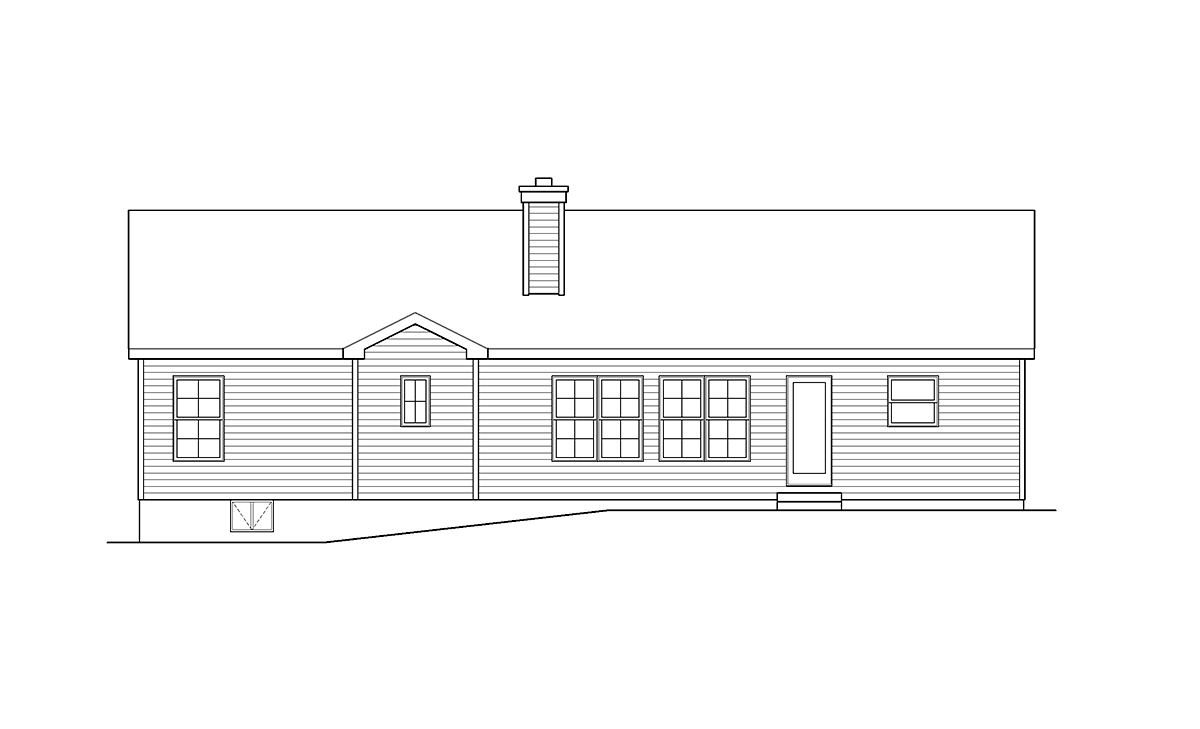 Ranch, Traditional House Plan 52202 with 3 Beds, 2 Baths, 2 Car Garage Rear Elevation