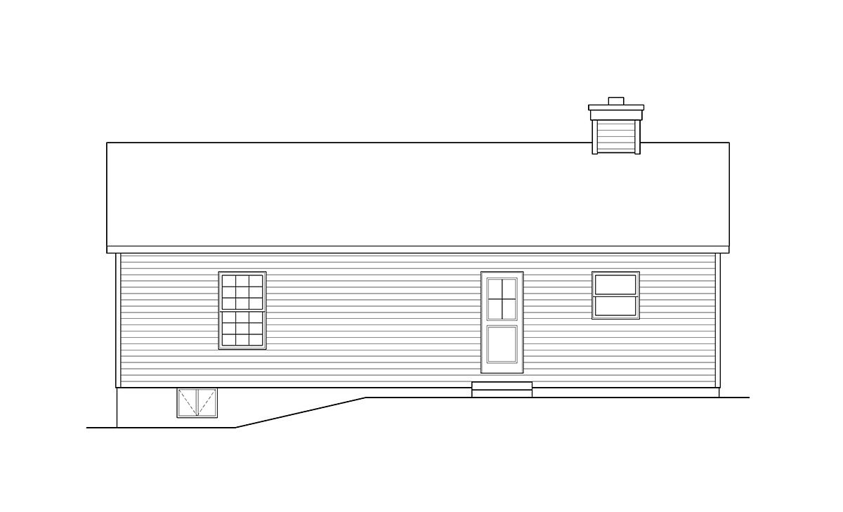 Ranch House Plan 52203 with 3 Beds, 1 Baths Rear Elevation