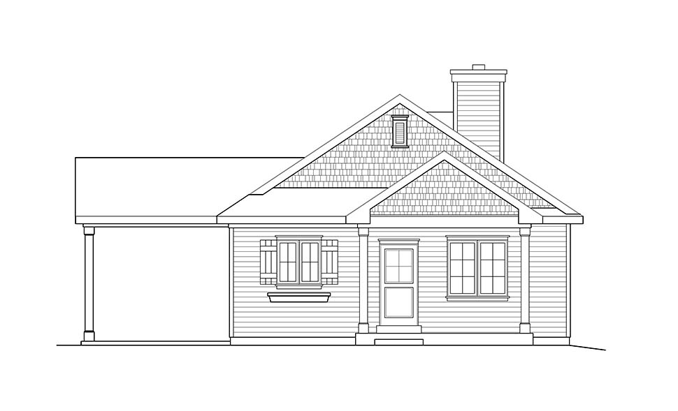 Ranch House Plan 52204 with 3 Beds, 2 Baths, 1 Car Garage Picture 3
