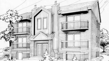 Multi-Family Plan 52422 with 12 Beds, 6 Baths Front Elevation