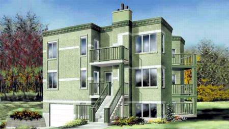Multi-Family Plan 52430 with 8 Beds, 3 Baths, 1 Car Garage Elevation