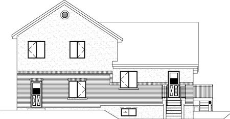 Multi-Family Plan 52433 with 4 Beds, 3 Baths Rear Elevation