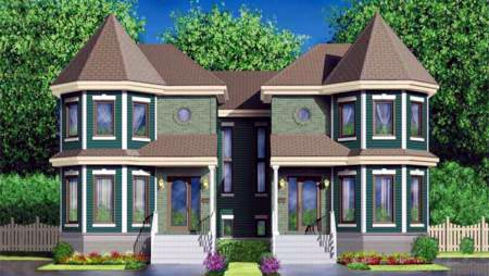 Multi-Family Plan 52434 with 6 Beds, 4 Baths Front Elevation