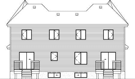 Multi-Family Plan 52434 with 6 Beds, 4 Baths Rear Elevation