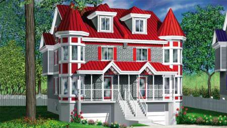 Multi-Family Plan 52440 with 5 Beds, 4 Baths, 2 Car Garage Front Elevation