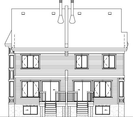 Multi-Family Plan 52440 with 5 Beds, 4 Baths, 2 Car Garage Rear Elevation