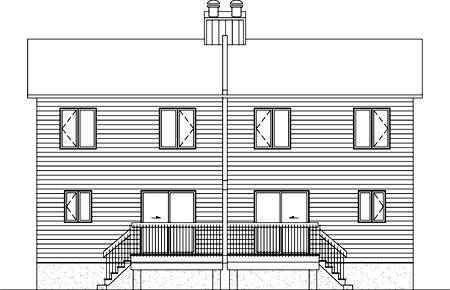 Multi-Family Plan 52454 with 6 Beds, 4 Baths Rear Elevation