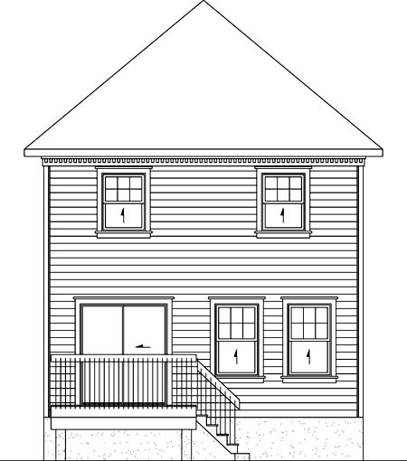House Plan 52719 with 2 Beds, 2 Baths Rear Elevation