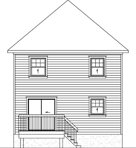 House Plan 52725 with 2 Beds, 2 Baths Rear Elevation