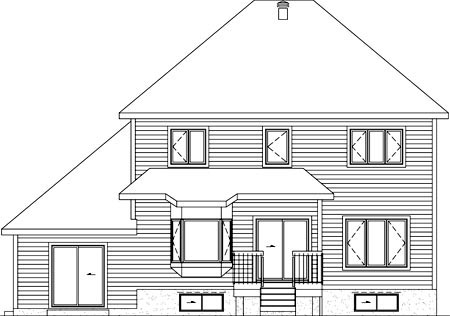 House Plan 52774 with 4 Beds, 4 Baths, 1 Car Garage Rear Elevation
