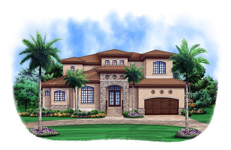 Mediterranean House Plan 52902 with 3 Beds, 4 Baths, 2 Car Garage Elevation