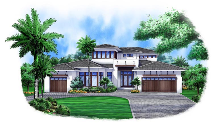 Contemporary House Plan 52903 with 4 Beds, 5 Baths, 3 Car Garage Front Elevation