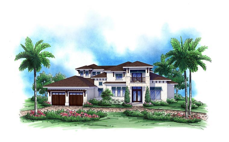 Coastal House Plan 52904 with 4 Beds, 5 Baths, 3 Car Garage Front Elevation