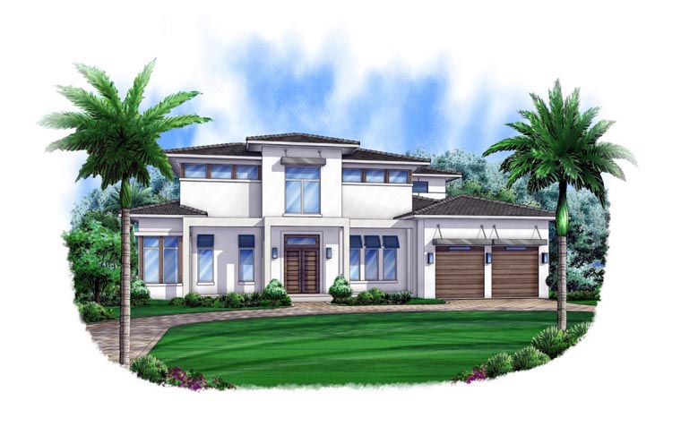 Contemporary House Plan 52905 with 4 Beds, 6 Baths, 3 Car Garage Front Elevation