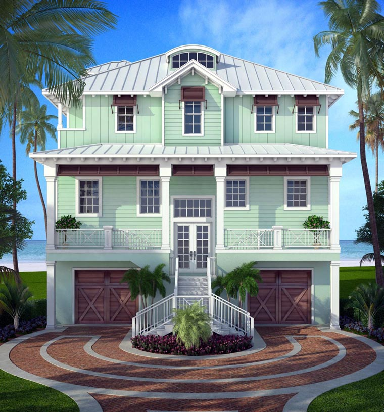 Florida House Plan 52906 with 5 Beds, 4 Baths, 2 Car Garage Elevation