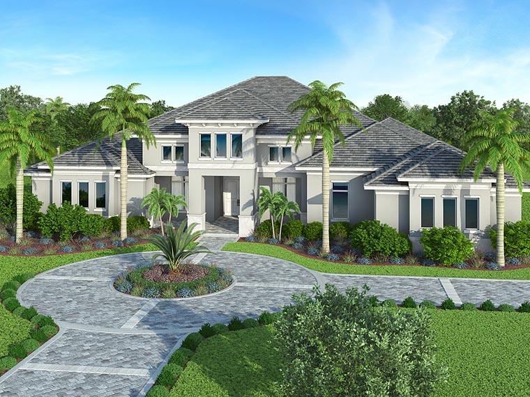 Coastal, Florida, Mediterranean House Plan 52920 with 4 Beds, 5 Baths Front Elevation