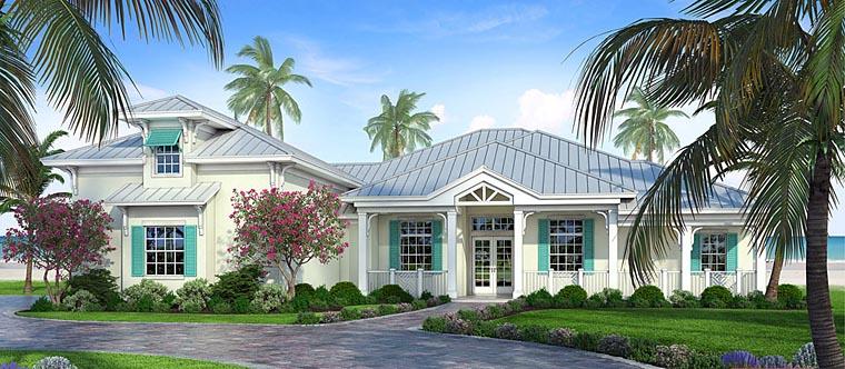 Coastal, Florida House Plan 52923 with 3 Beds, 3 Baths, 3 Car Garage Elevation