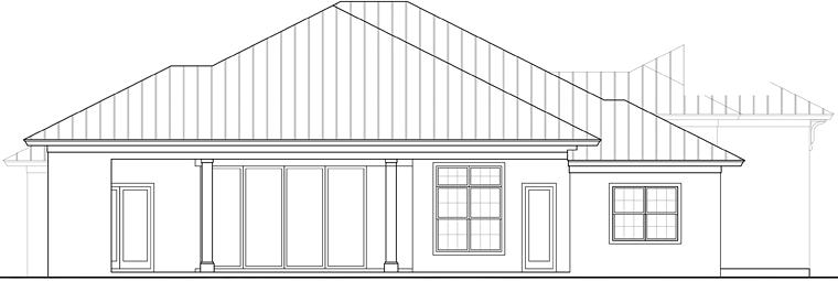 Coastal, Florida House Plan 52923 with 3 Beds, 3 Baths, 3 Car Garage Rear Elevation