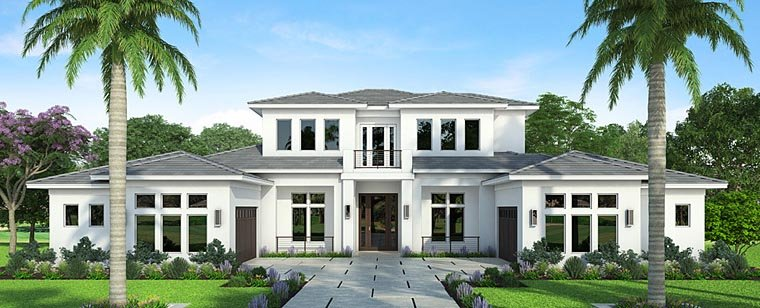 Coastal, Contemporary, Florida, Mediterranean House Plan 52925 with 4 Beds, 6 Baths, 4 Car Garage Elevation