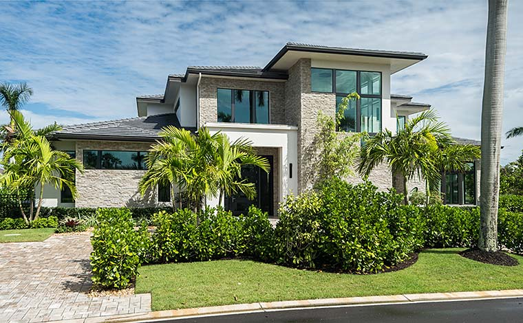 Coastal, Contemporary, Florida, Mediterranean House Plan 52931 with 4 Beds, 5 Baths, 3 Car Garage Picture 1