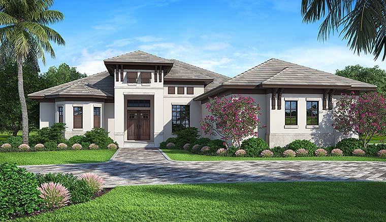 Coastal, Florida, Mediterranean House Plan 52933 with 4 Beds, 3 Baths, 3 Car Garage Elevation
