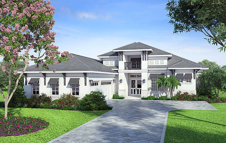 Coastal, Florida, Mediterranean, Modern House Plan 52936 with 4 Beds, 5 Baths, 3 Car Garage Elevation