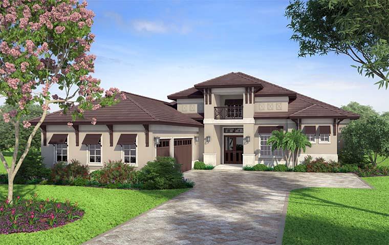 Coastal, Florida, Mediterranean House Plan 52936 with 4 Beds, 5 Baths, 3 Car Garage Picture 1