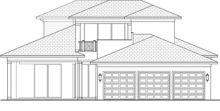 Coastal, Contemporary, Florida, Mediterranean House Plan 52942 with 4 Beds, 5 Baths, 3 Car Garage Rear Elevation