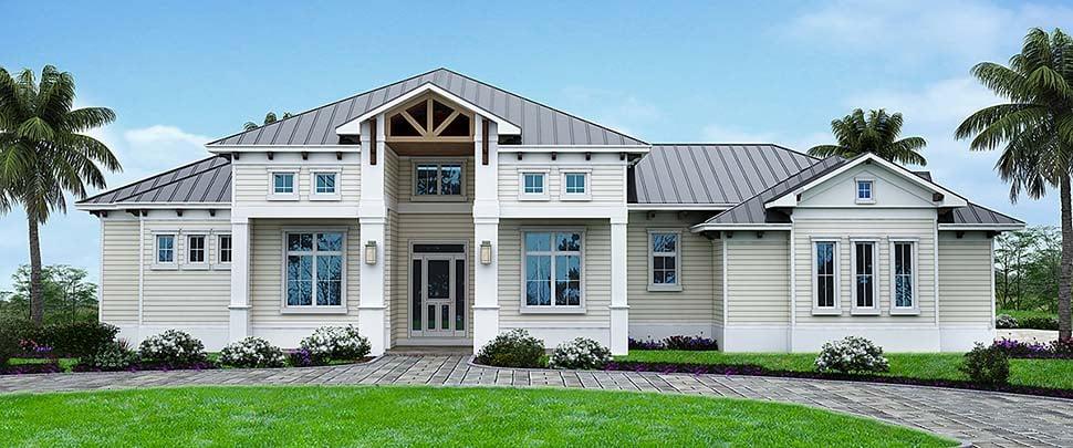 Coastal, Florida House Plan 52946 with 4 Beds, 3 Baths, 3 Car Garage Front Elevation