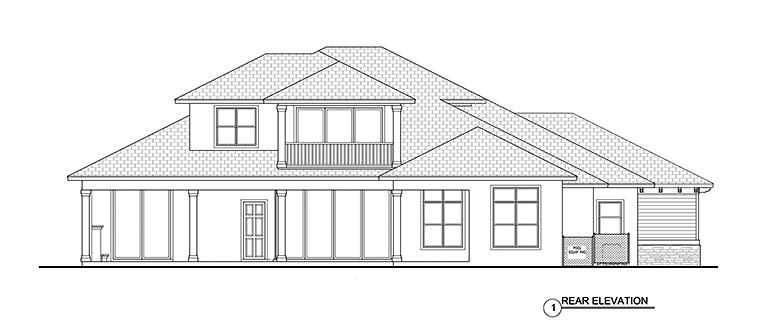 Florida, Mediterranean House Plan 52947 with 3 Beds, 5 Baths, 3 Car Garage Rear Elevation