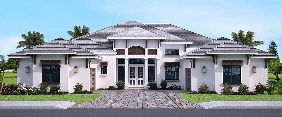 Coastal, Florida, Mediterranean House Plan 52952 with 3 Beds, 4 Baths, 3 Car Garage Front Elevation