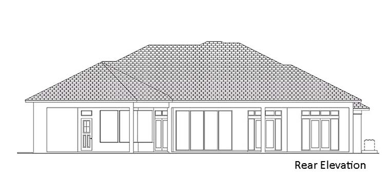 Coastal, Florida, Mediterranean House Plan 52952 with 3 Beds, 4 Baths, 3 Car Garage Rear Elevation