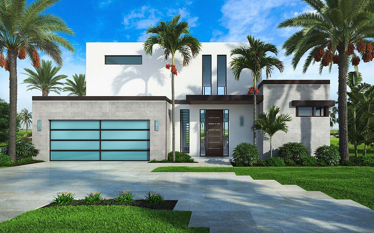 Contemporary House Plan 52960 with 4 Beds, 5 Baths, 2 Car Garage Elevation