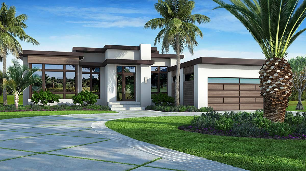 Contemporary, Florida, Modern, Southwest House Plan 52966 with 3 Beds, 4 Baths, 2 Car Garage Elevation
