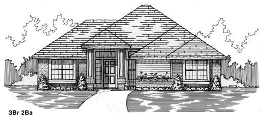 House Plan 53226 with 3 Beds, 2 Baths, 2 Car Garage Elevation