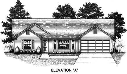 House Plan 53227 with 3 Beds, 2 Baths, 2 Car Garage Front Elevation