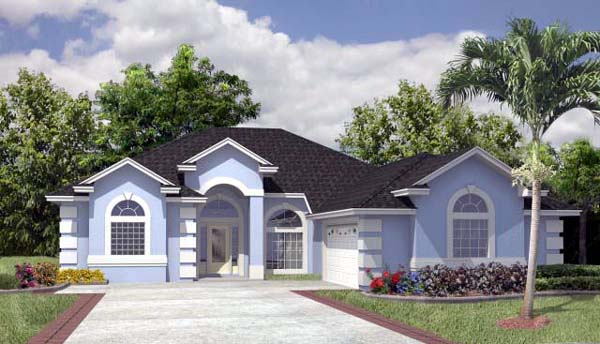 House Plan 53242 with 3 Beds, 2 Baths, 2 Car Garage Elevation