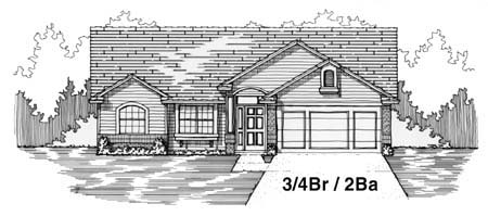 House Plan 53245 with 4 Beds, 2 Baths, 2 Car Garage Front Elevation
