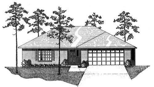 House Plan 53247 with 3 Beds, 2 Baths, 2 Car Garage Front Elevation